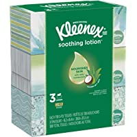 Kleenex Soothing Lotion Facial Tissues, 3 Flat Boxes, 110 Tissues per Box (330 Tissues Total), Coconut Oil, Aloe…