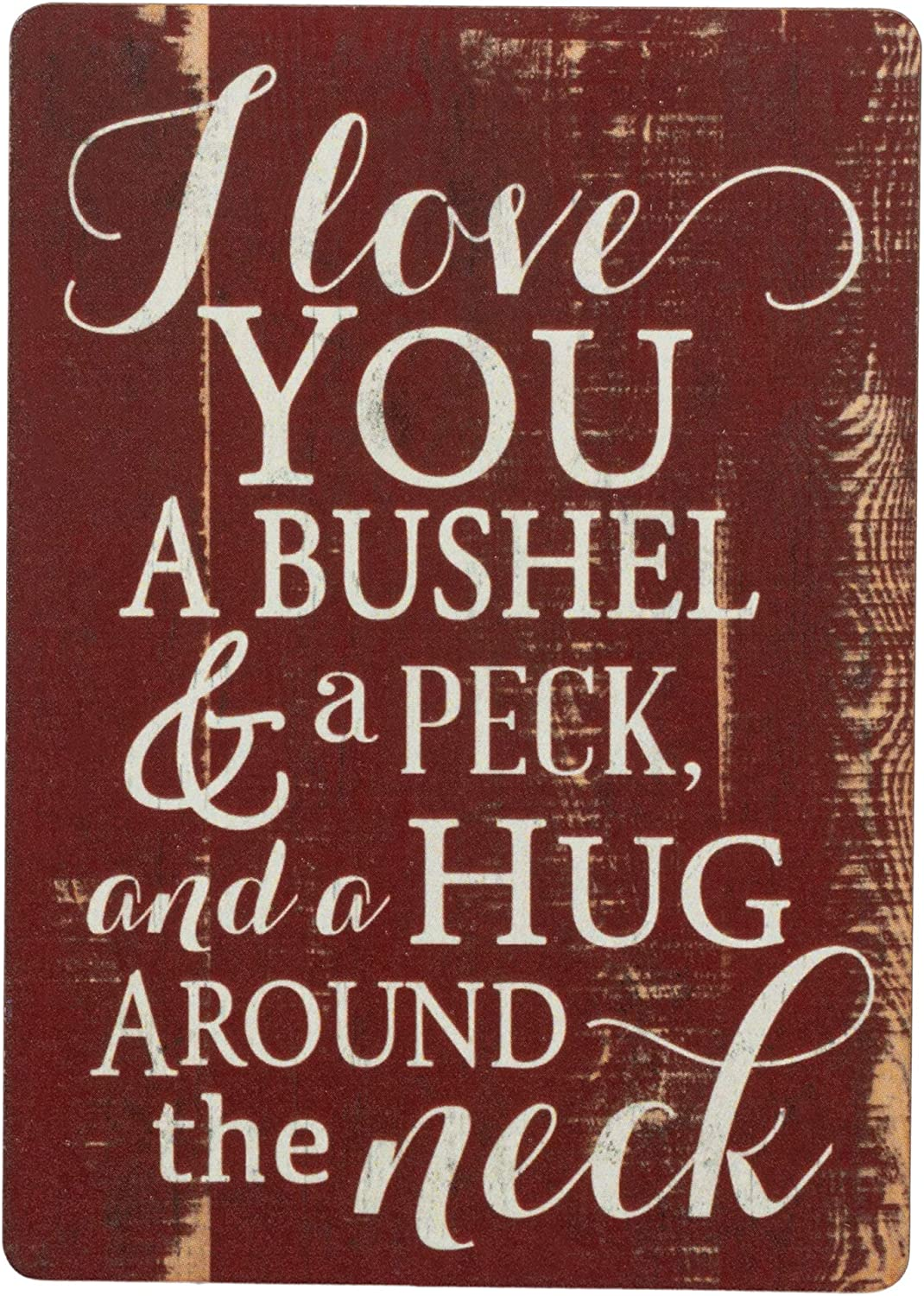 I Love You A Bushel & A Peck Red Distressed Wood Look 3 x 4 Inch Wood Lithograph Magnet