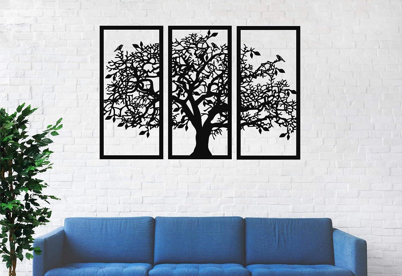 "3 Panels Family Tree Metal Wall Decor Tree of Life Metal Wall Art, Home Bedroom Living Room Decor 3D Wall Art 3 Panels Family Tree Metal Wall Decor Modern Decoration (Black, 30""W x 20""H/76x51cm)"