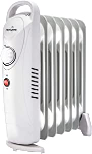 HEATZONE - 700W Oil Heater Mini Space Heater with Overheat Protection, Adjustable Thermostat - Radiant Heater for Home & Office, Safety Shut-Off Quiet Portable Radiant Heater