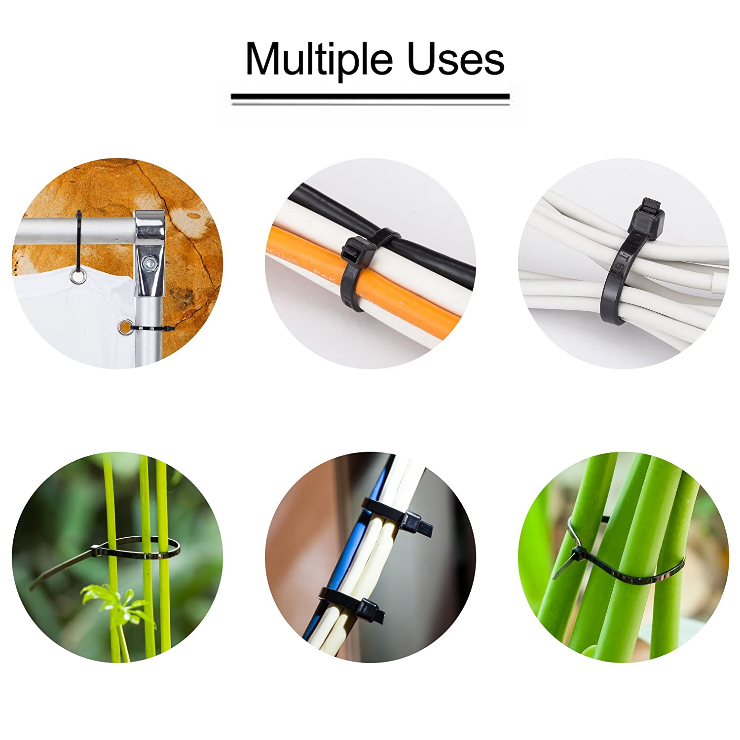 Quality Cable Ties Indoor and Outdoor UV Resistant Zip Cable Ties Heavy Duty 26 Inch Long Durable Nylon Black tie wraps Tanbin Strong Large Black Zip Ties 5 Pieces