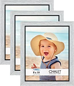 Icona Bay 8x10 Picture Frames (Loft Gray, 3 Pack), Casual Style 8 x 10 Photo Frames, Table Top or Wall Mount, Chalet Collection