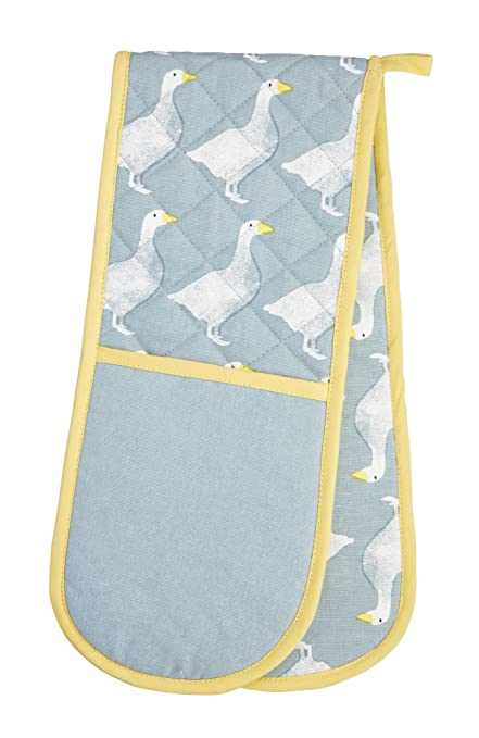 86 x 18 cm KitchenCraft 100 Cotton Yellow Sheep Novelty Double Oven Gloves