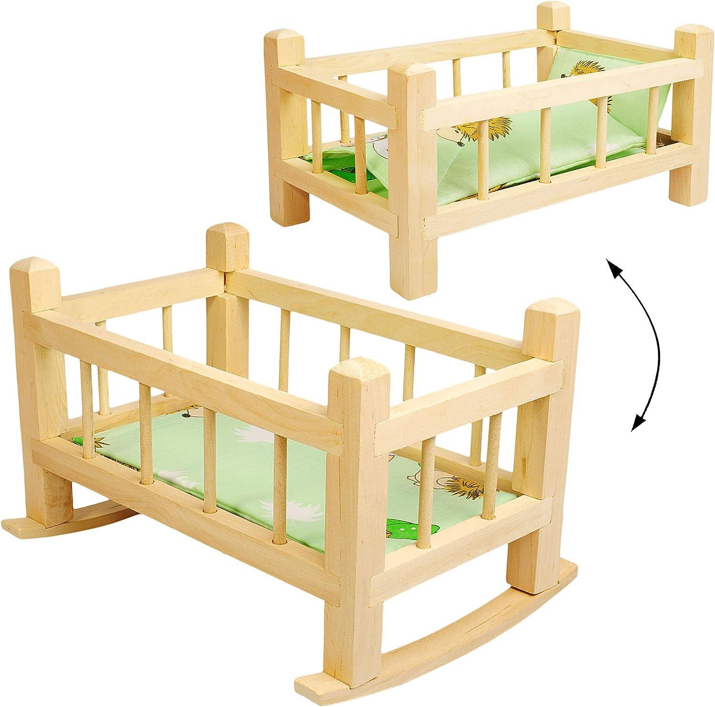 mit Bettzeug Bett H.. aus Naturholz 43 cm gro/ß Puppenbett /& Puppenwiege inkl gro/ßes Holz Holzwiege Schaukelbett f/ür Puppen gro/ß Name alles-meine.de GmbH UMBAUBAR
