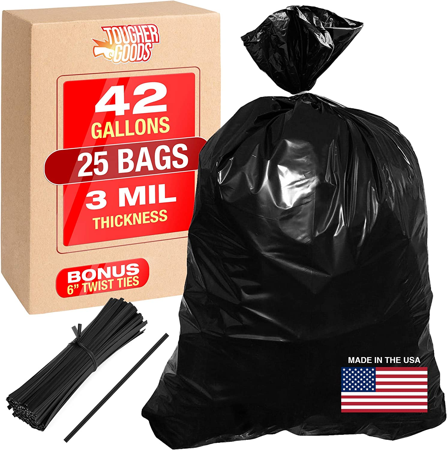 Contractor Bags 42 gallon 3 Mil Trash Bags 25PK Heavy Duty Contractors Grade Black Construction Garbage Bag With Ties 33x48 Industrial Strength Contractor Clean Up Large Trashbags - by Tougher Goods