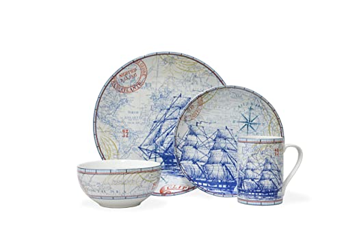 Christmas Tablescape Decor - Clipper 16-Pc Dinnerware Set by 222 Fifth