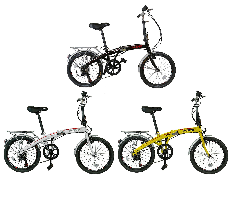 Xspec 26'' 21 Speed Folding Mountain Bike Bicycle Trail Commuter Shimano, Black/White/Yellow by Xspec (Image #1)