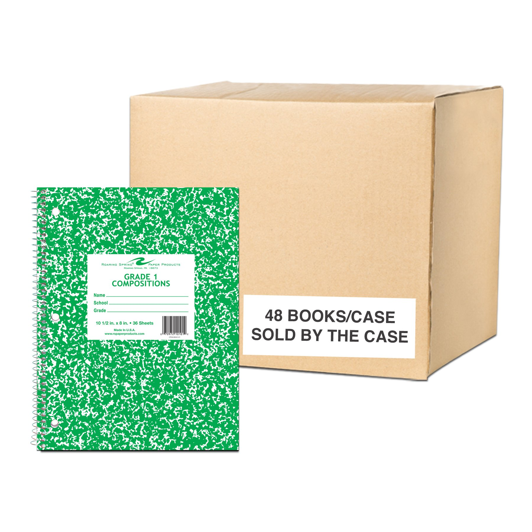 Roaring Spring Paper, Products Case of 48 Grade One Wirebound School Notebooks, 10.5''x8'', 36 sheets/book 15# White tablet Paper, 3-Hole Punched