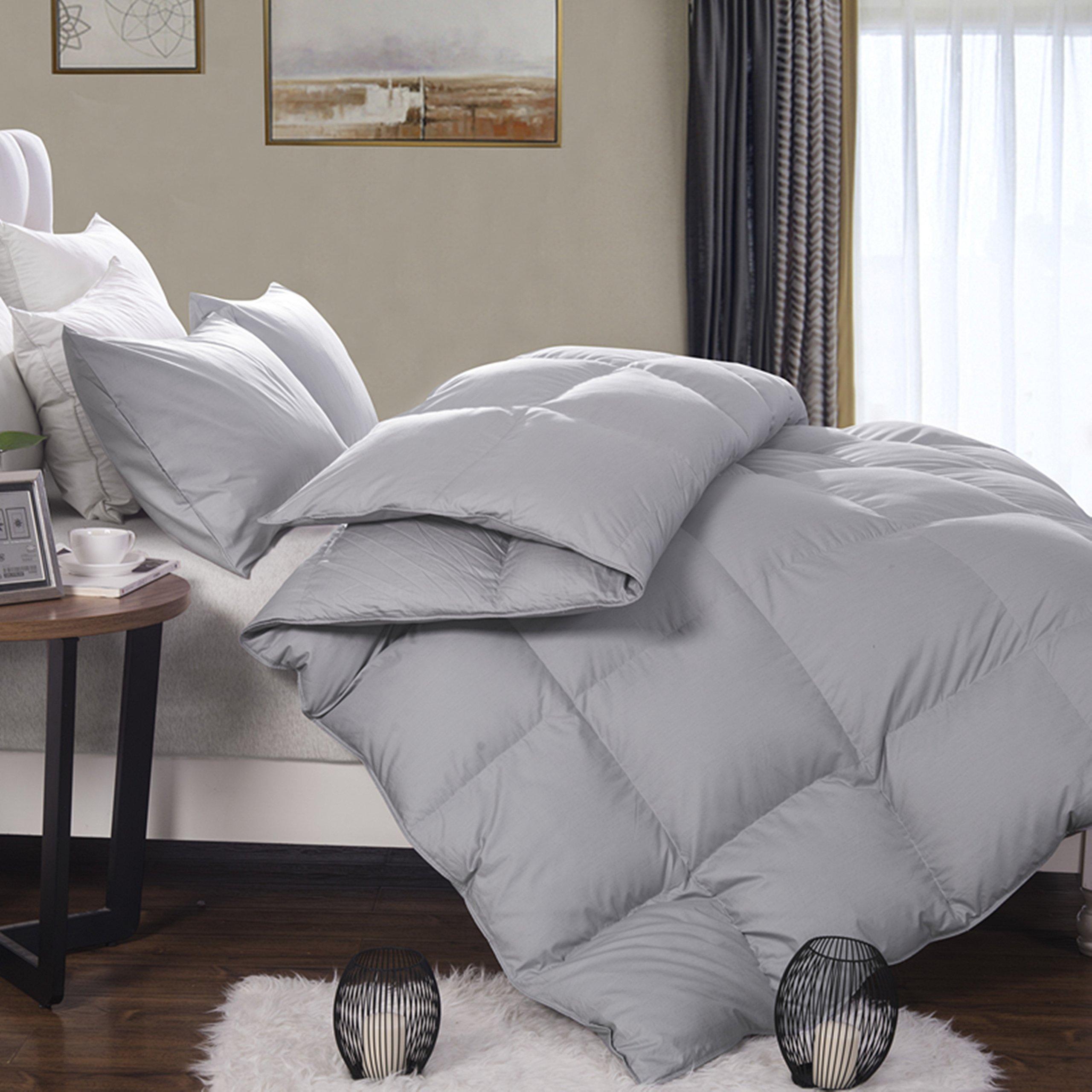 Lightweight Goose Feather Down Comforter Duvet Insert All Season,100% Organic Cotton Cover, Grey (Queen)