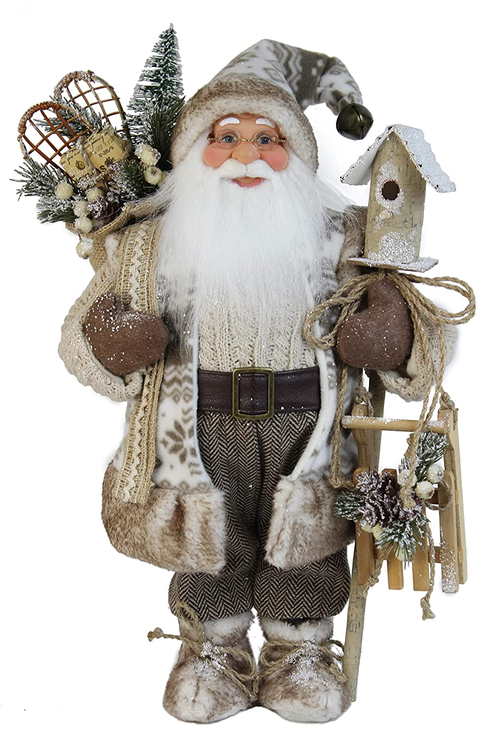"""Windy Hill Collection 16"""" Inch Standing Woodland Birdhouse Santa Claus Christmas Figurine Figure Decoration 16829"""