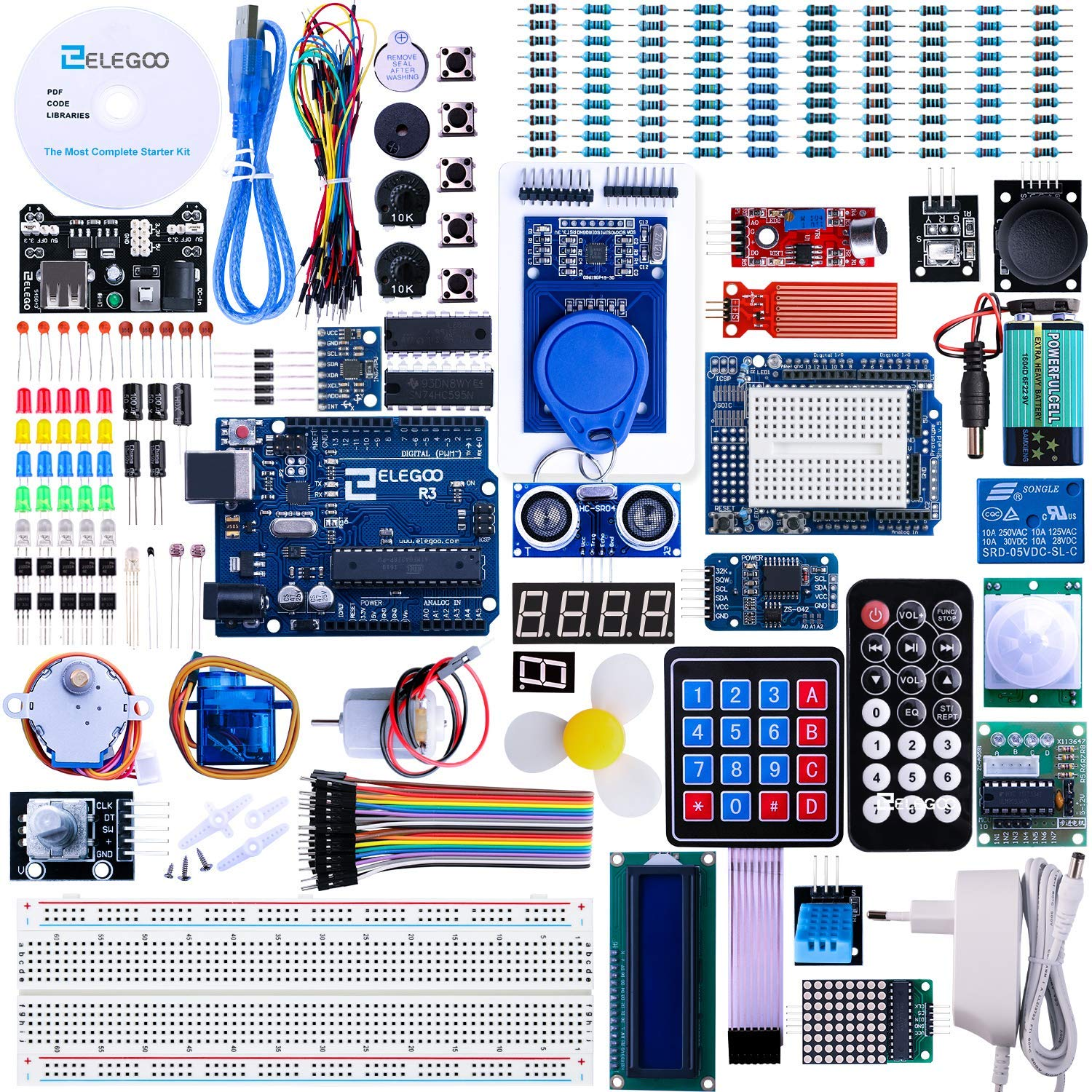 ELEGOO R3 Project The Most Complete Ultimate Starter Kit w/TUTORIAL, R3  controller board, LCD1602, Servo, Stepper Motor, Compatible with Official  R3