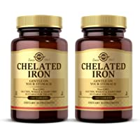 Solgar - Chelated Iron Tablets 100 Count, Promotes Red Blood Cell Production & Produces Healthy Energy - 2 Pack