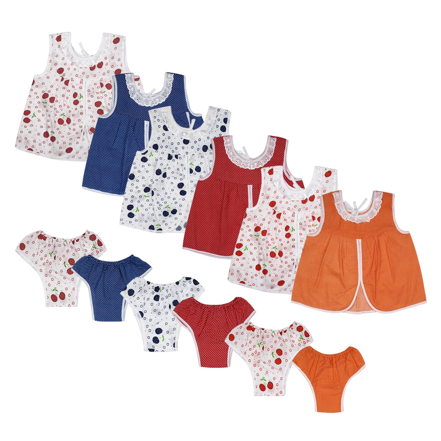 Littly Baby Girls' Cotton Clothing Set, 12 Pieces