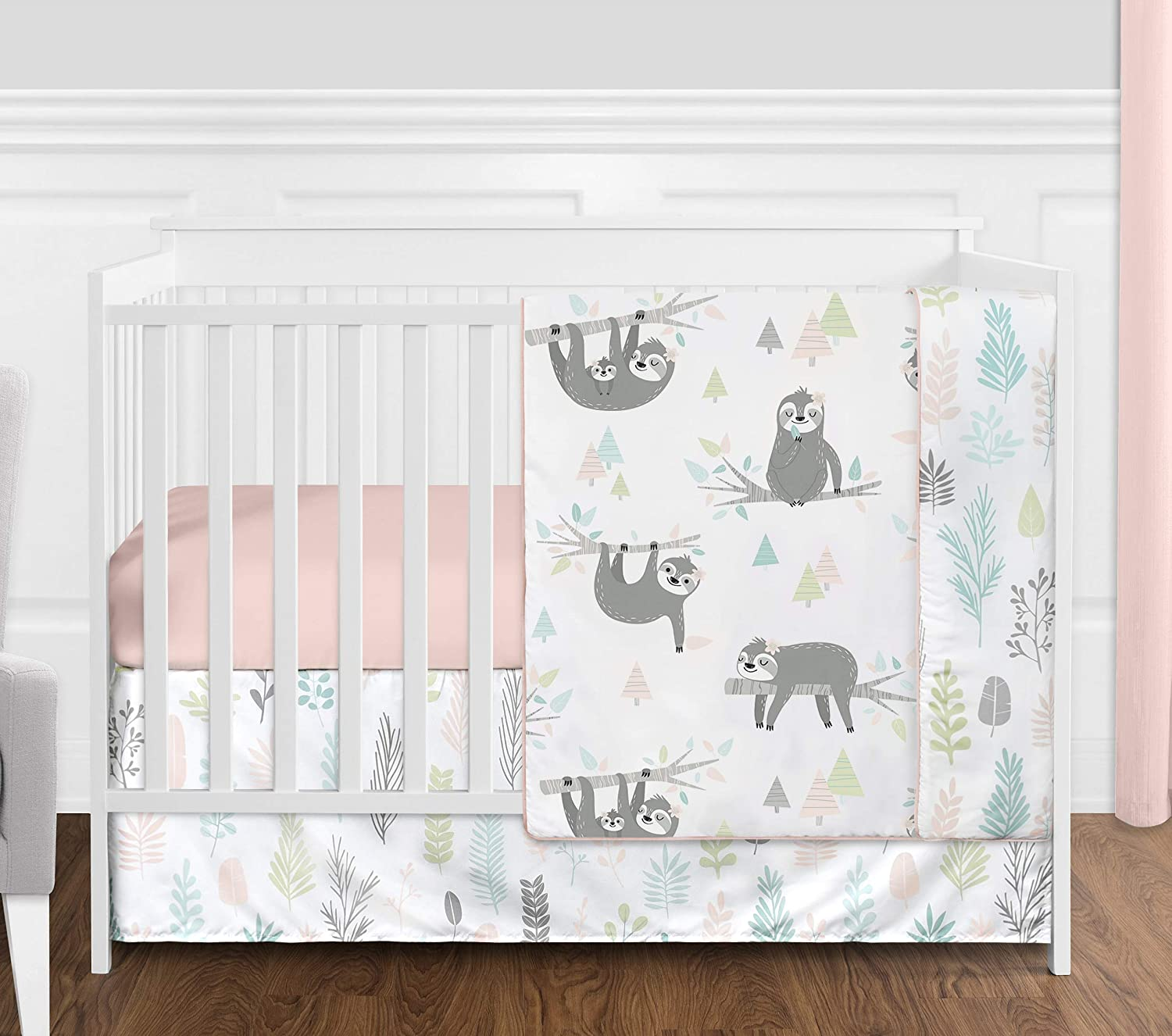 Sweet Jojo Designs Pink and Grey Jungle Sloth Leaf Baby Girl Nursery Crib Bedding Set Without Bumper - 4 Pieces - Blush, Turquoise, Gray and Green Tropical Botanical Rainforest