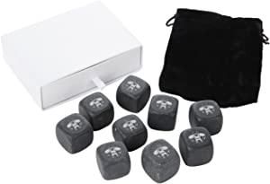 Viking Whiskey Stones Set - Granite Chilling Stones For Whiskey And Other Liquor - Ideal Gifts For Alcohol Drinkers. Laser Engraved In The Usa.