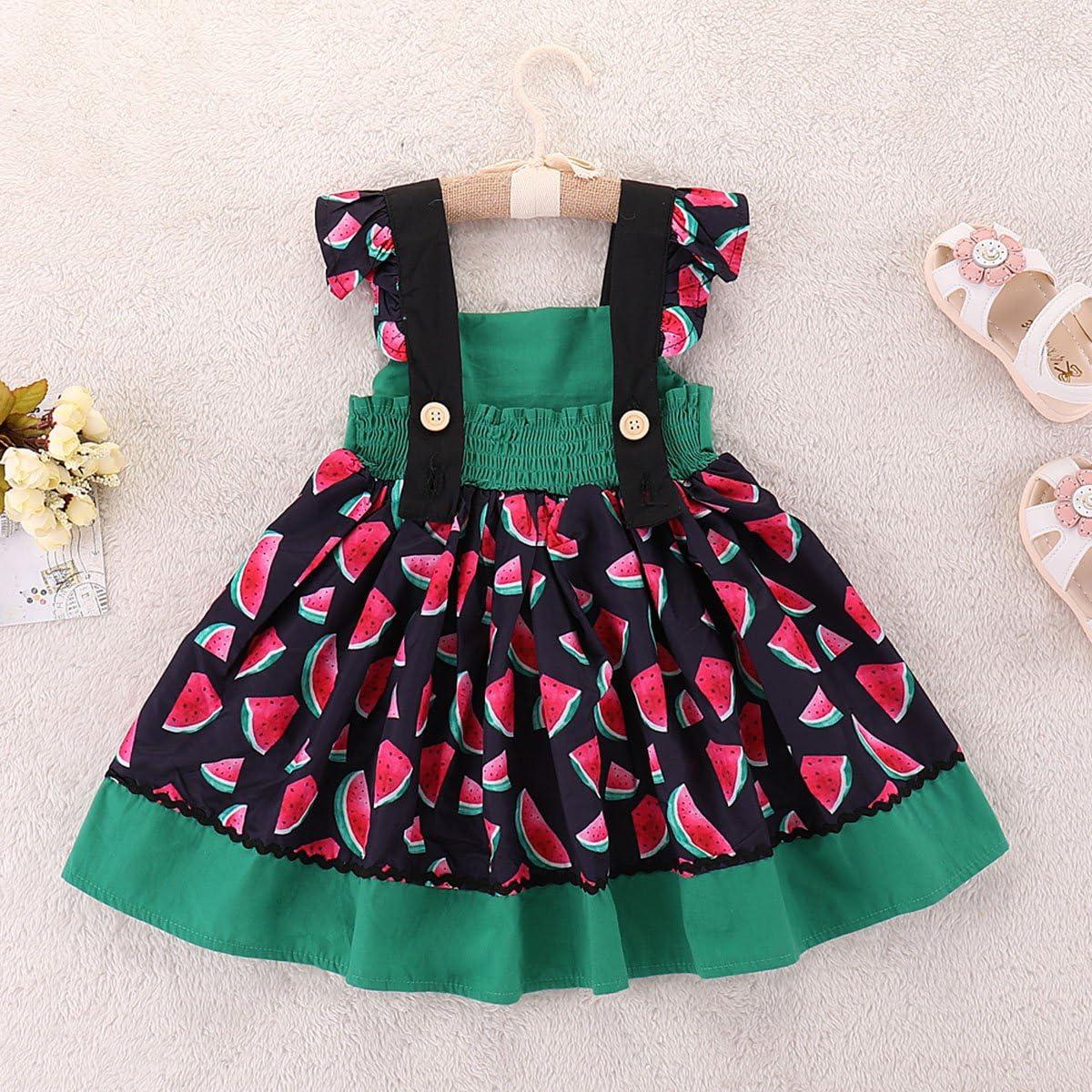 Camidy Baby Toddler Girl Summer Dress Ruffle Sleeve Watermelon Print Bowknot Sundress