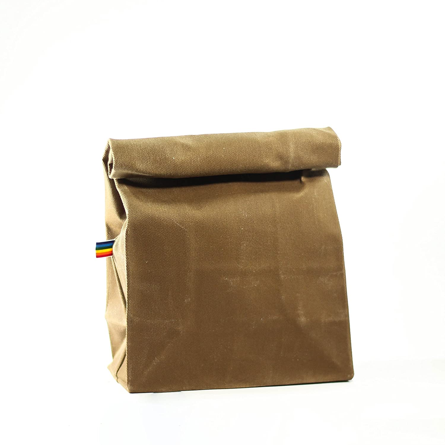 Lunch Bag - Light Brown Waxed Canvas