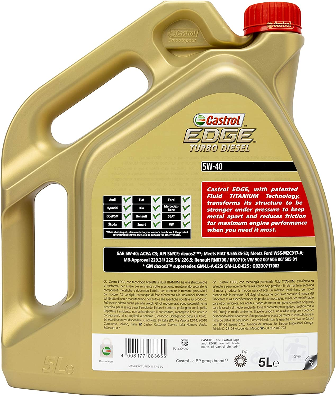 Castrol Edge Turbo Diesel Engine Oil 5w 40 5l German Label Auto