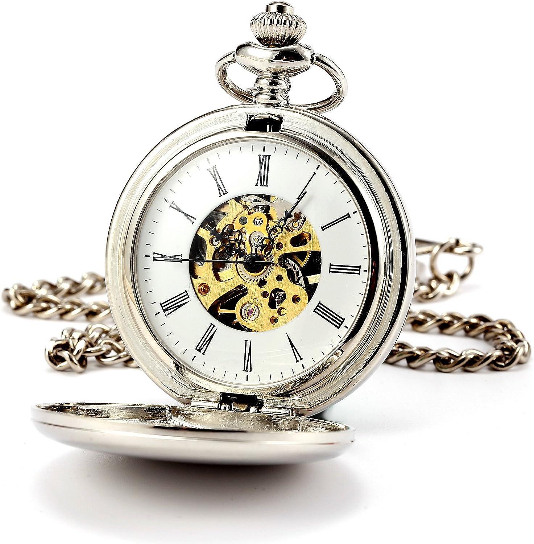 ManChDa Reloj de bolsillo clásico para hombre, caja lisa, doble cazador, números romanos esqueleto mecánico con cadena + caja de regalo