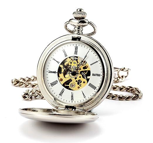 ManChDa® Hombres Steampunk Reloj de Bolsillo Plata Cazador de Doble Esfera Esqueleto con Cadena +