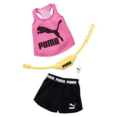 Barbie Clothes: Puma Outfit Doll with 2 Accessories, Shorts Set, Multicolor, Model:GHX79: Toys & Games