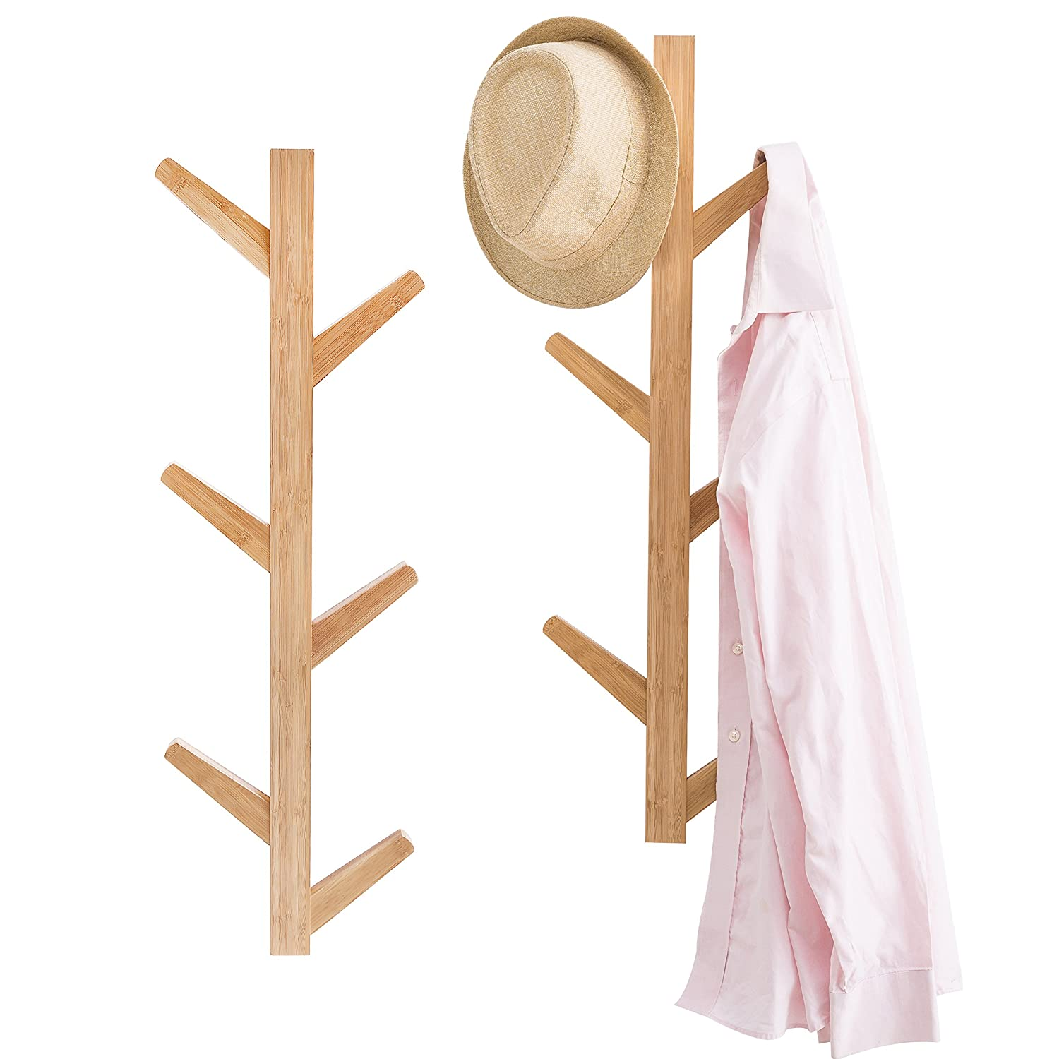 Amazoncom 6 Hook Wall Mounted Natural Bamboo Wood Tree Branch Design