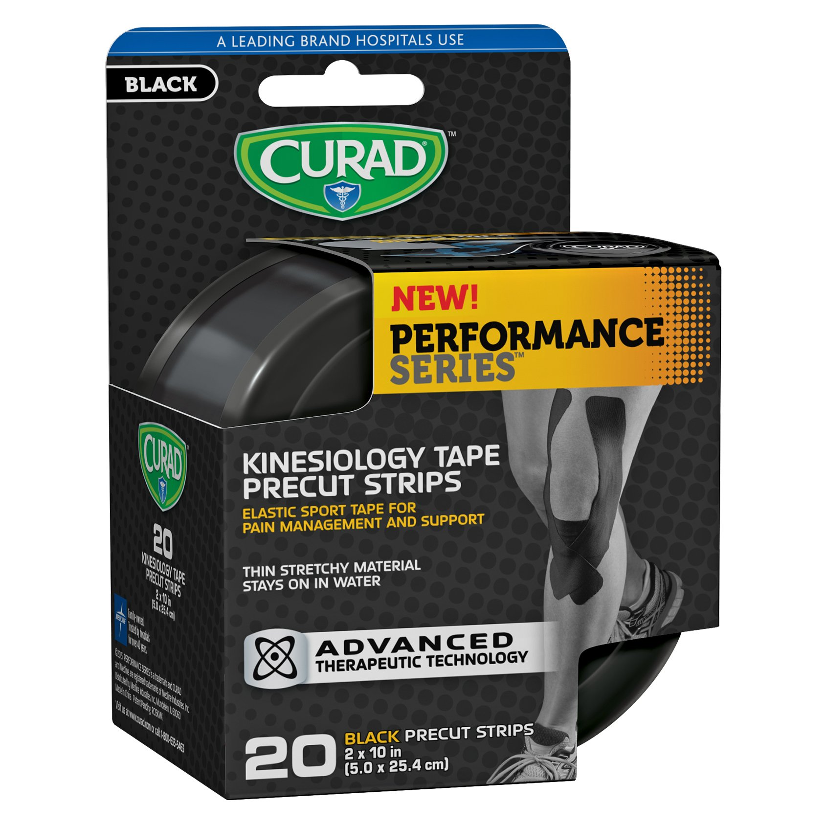 Curad Performance Series Kinesiology Tape Precut Strips, Black, 20 Count (Pack of 12)