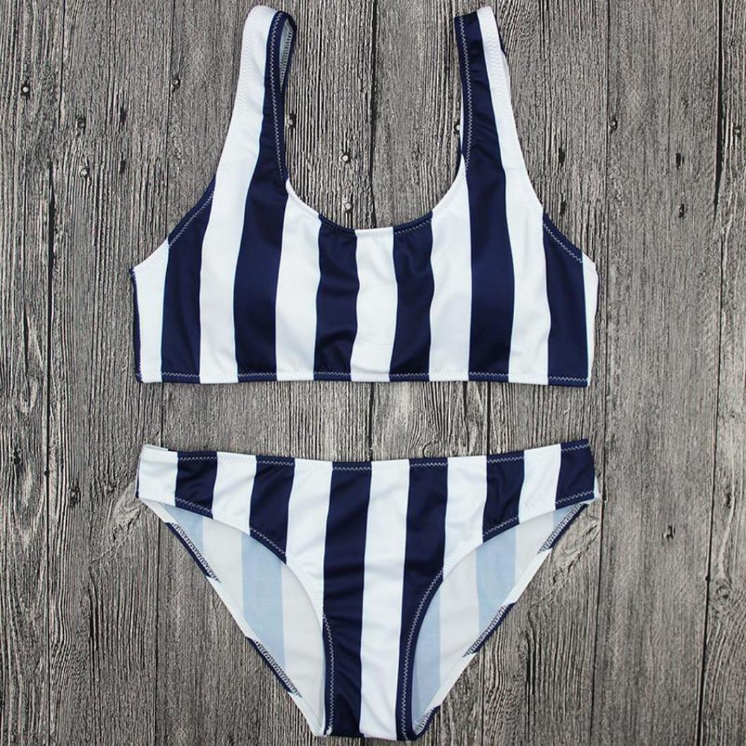 Bikinis Mujer,Dragon868 2018 Mujeres Junior chicas rayas empujar hasta trajes de baño bikini