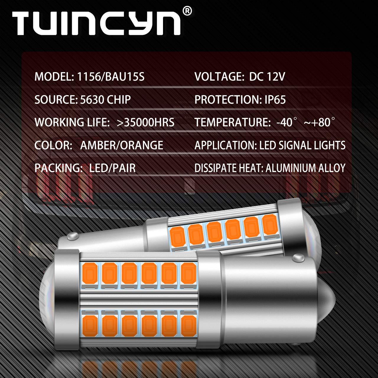 Pack of 4 TUINCYN BAU15S PY21W LED Bulb White Brake Light Bulb Super Bright 8000K 5630 33SMD 1156 7507 12496 5009 7507AST Turn Signals Light Back Up Reverse Light Parking Light DC 12V