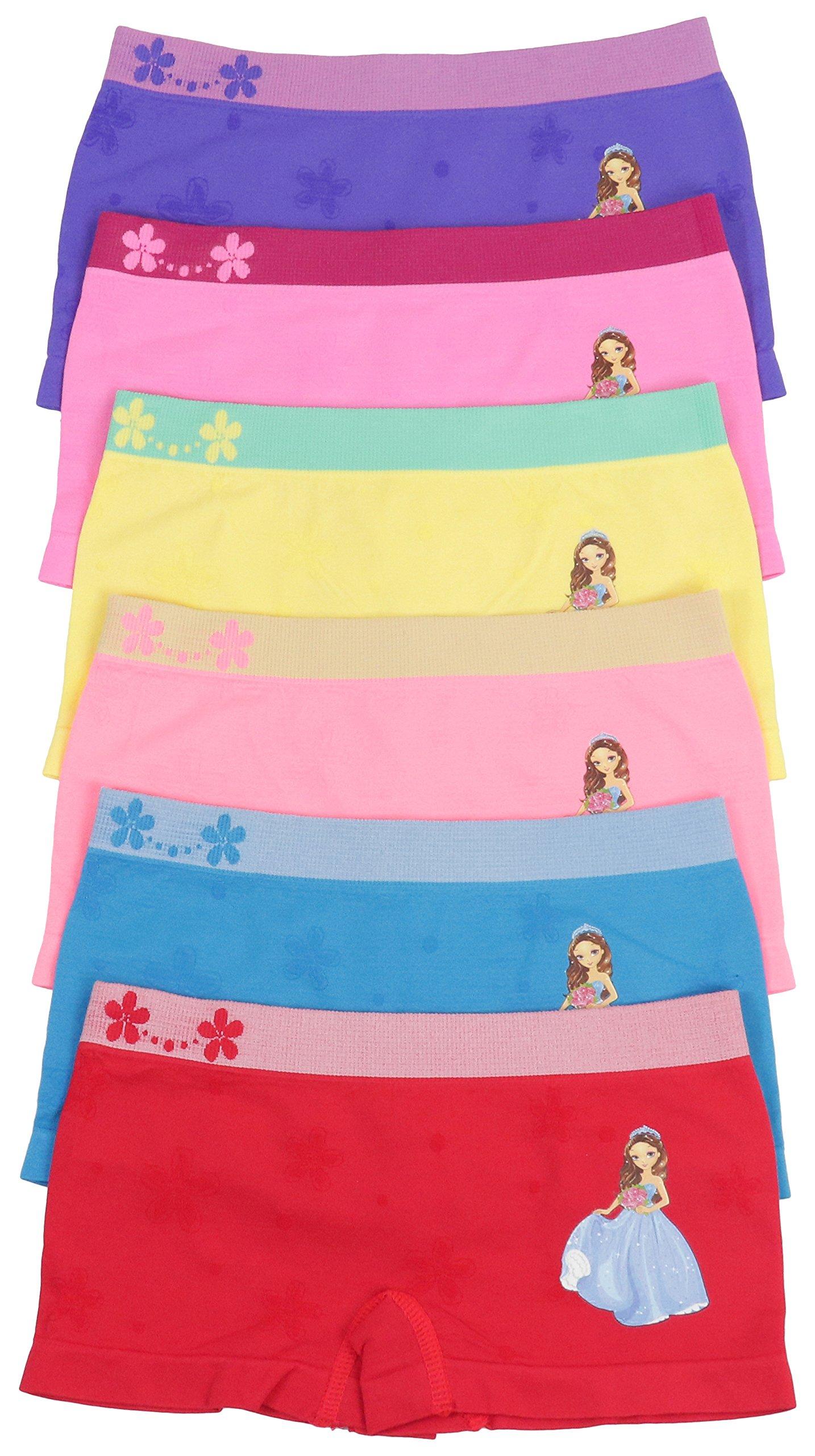 ToBeInStyle Girls' 6 Pack Graphic Design Boyshorts - Bouquet Princess - Medium