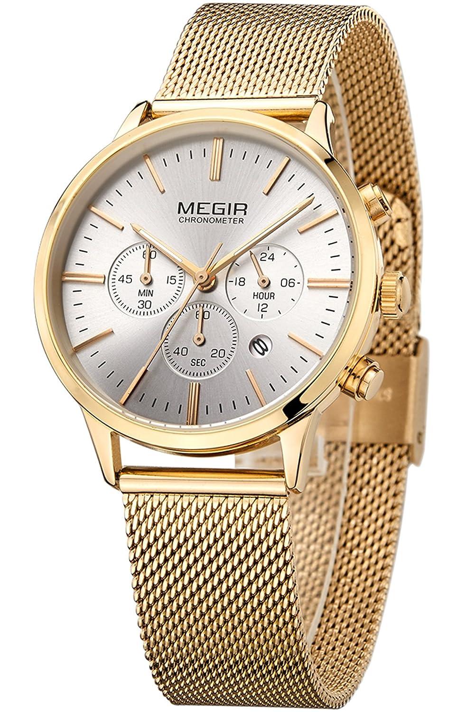 850a1f6ad83f Megir Marcas Relojes Hombre Mujer Oro Negro Acero Lujo Deportivos Colores   Amazon.es  Relojes