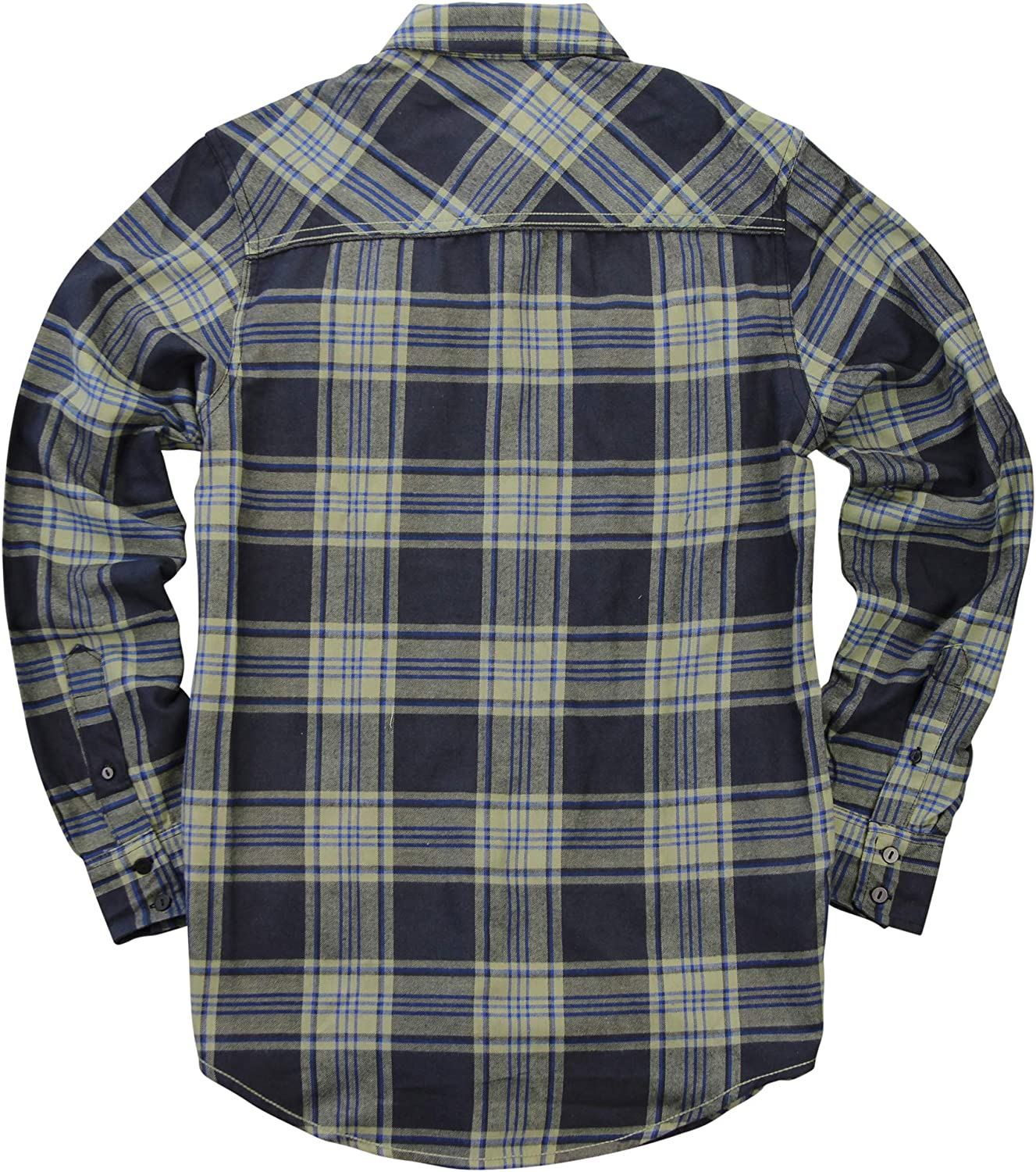 Mstyle Mens Cotton Long Sleeve Regular Fit Button Up Plaid Flannel Checkered Shirt
