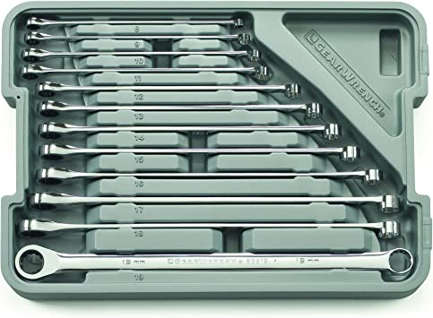 GEARWRENCH 12 Piece GearBox 12 Point XL Ratcheting Double Box Wrench Set, Metric - 85988