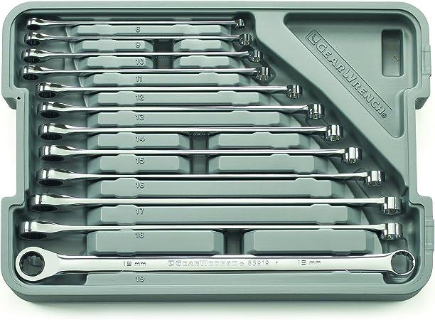 Llave de carraca con Caja de Herramientas Zoternen Cabezal Flexible Trabajos de Bricolaje reparaci/ón de Coche Juego de 12 Llaves combinadas de 8-19 mm