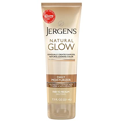 Jergens Natural Glow Daily Moisturizer for Body, Fair to Medium Skin Tones, 7.5 Ounce Tube
