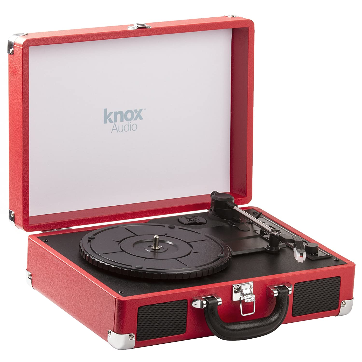 Knox Gear Portable Bluetooth USB Turntable with Built-in Speakers (Leather Brown) KN-PTT-LB