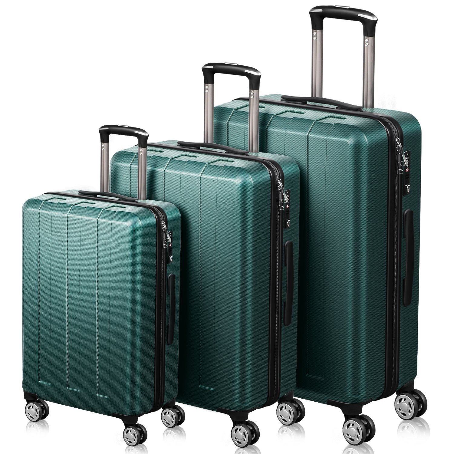 QuaCity Trolley Sets of 3 Piece PC+ABS Spinner Hard Shell Suitcase Lightweight Luggage (20'' 24'' 28'') (Dark Green)