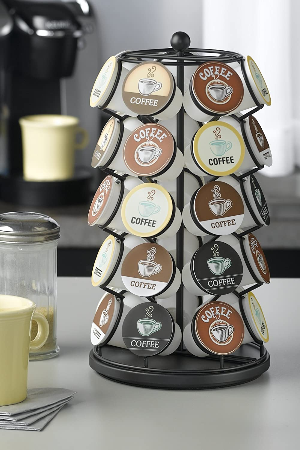 Amazoncom K Cup Carousel Holds 35 K Cups In Black Kitchen Dining