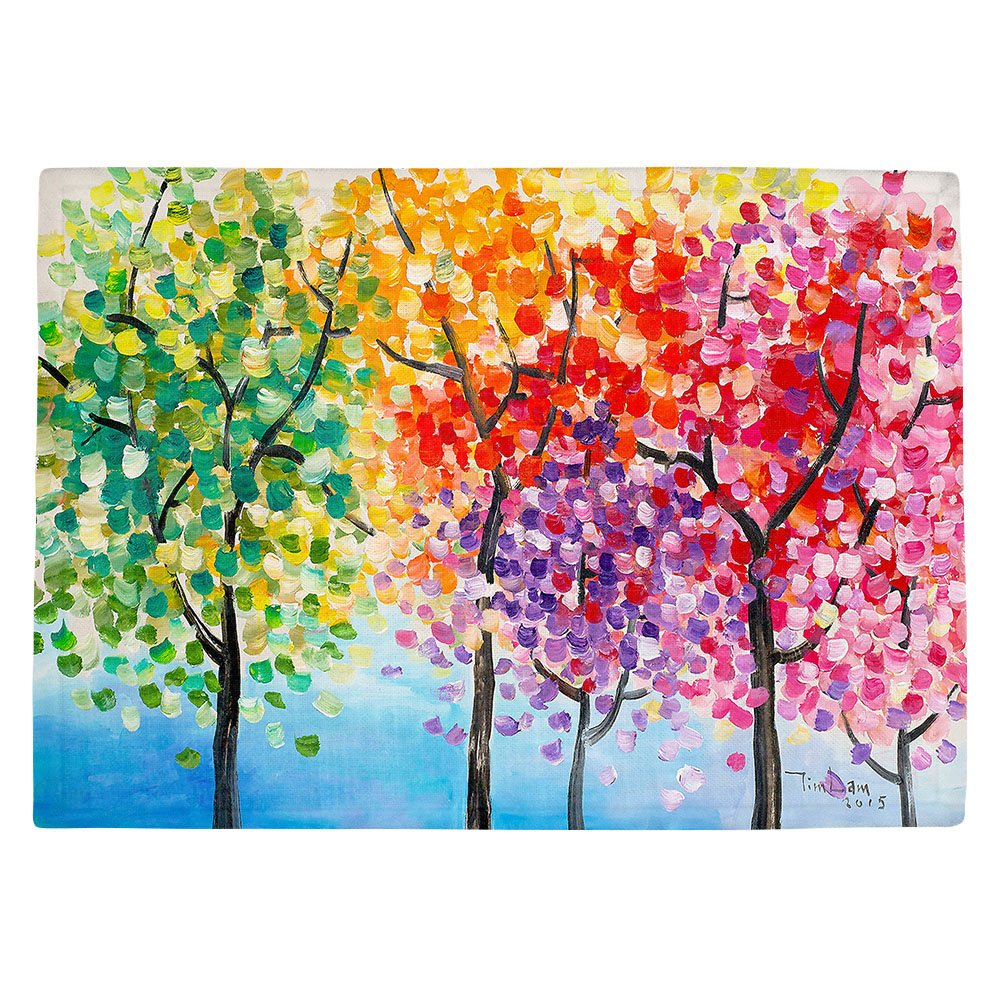 DIANOCHEキッチンPlaceマットby Artist Lam Fuk Tim – カラフルな木lll Set of 2 Placemats PM-LamFukTimColorfulTreeslll1 Set of 2 Placemats  B01N8OU5JQ