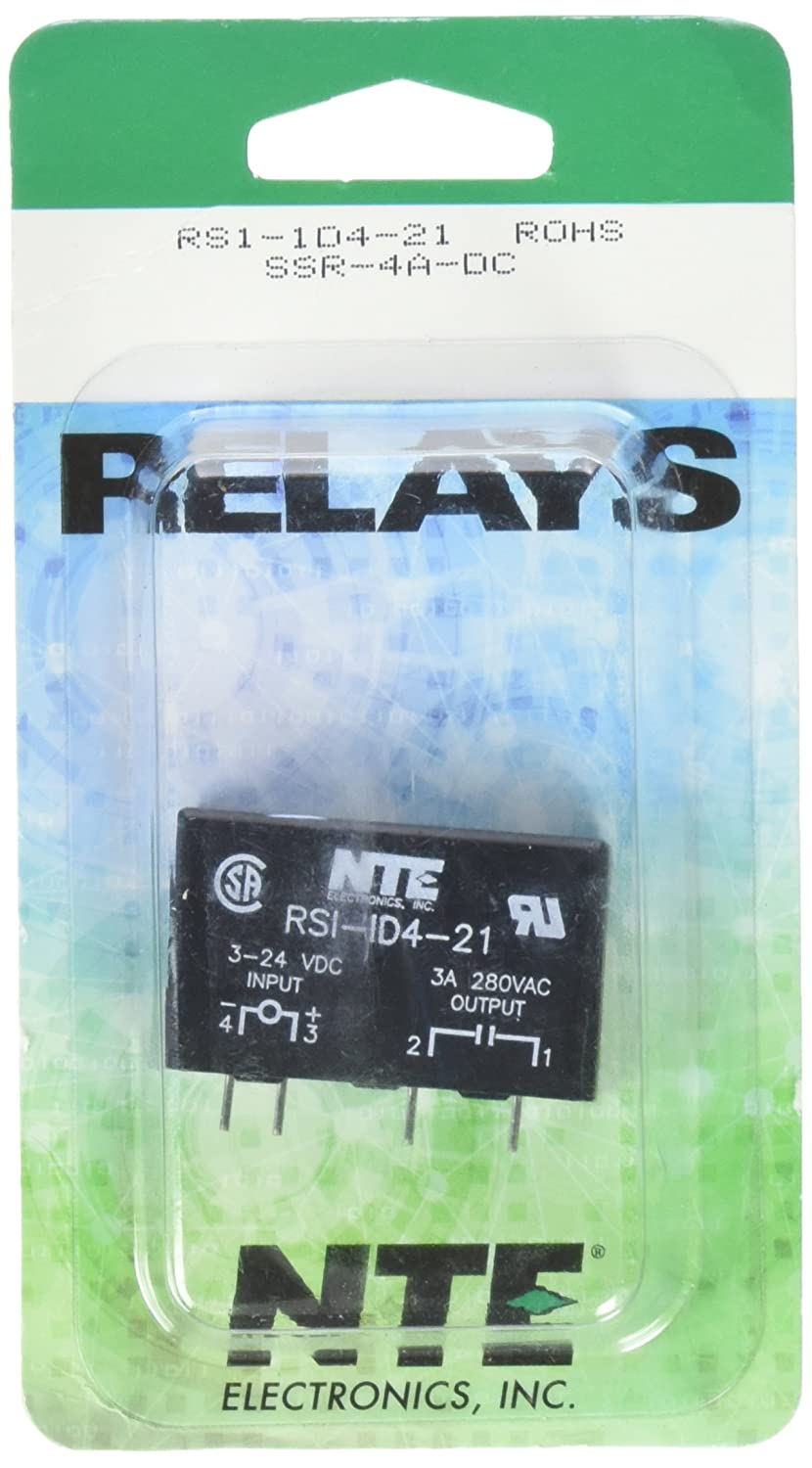 NTE Electronics RS1-1D4-21 Series RS1 Printed Circuit Board Mountable Solid State Relay 4 Amp Inc. 280 VAC Output SPST Contact Arrangement
