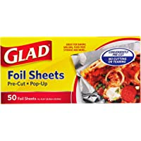 Glad Food Prep & Storage BB11212 | Pre Pop Up Aluminum Foil Sheets for Baking, Grilling, and Food Prep, 50 Count, | No…