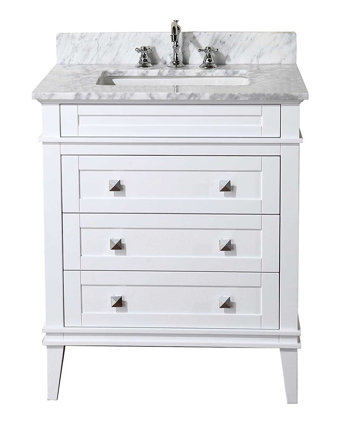 Eleanor 30-inch Bathroom Vanity Carrara White Includes a White Cabinet, Soft Close Drawers, a Natural Italian Carrara Marble Countertop, and a Ceramic Sink
