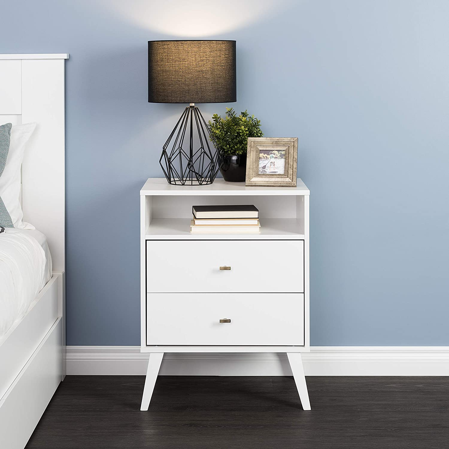 Amazon Com Prepac Milo Mid Century Modern Nightstand 2 Drawer With Open Shelf White Furniture Decor