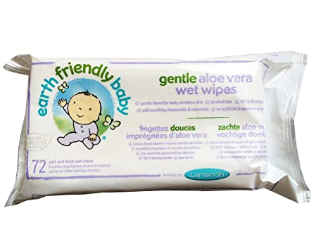 Earth Friendly Gentle Aloe Vera Wet Wipes 72s (PACK OF 4) by Earth Friendly