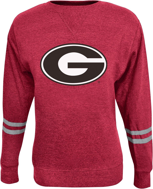 Alta Gracia NCAA womens Fleece Crew With Athletic Sleeve Stripes