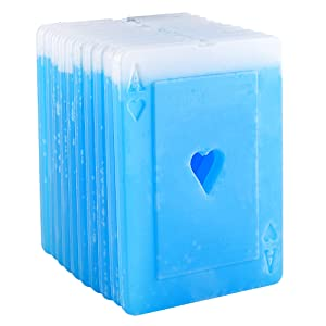 OICEPACK Ice Pack for Lunch Box Long Lasting Cold Ice Packs for Coolers Slim Ice Pack fit all Lunch bags Reusable Ice Packs Perfect for Outdoor Activities with Poker Ace Heart Shape (10PCS)