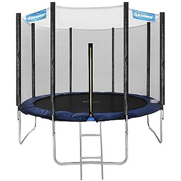 SONGMICS Trampolin Ø 305 cm, rundes Gartentrampolin mit Sicherheitsnetz, mit Leiter und gepolsterten Stangen, Sicherheitsabde
