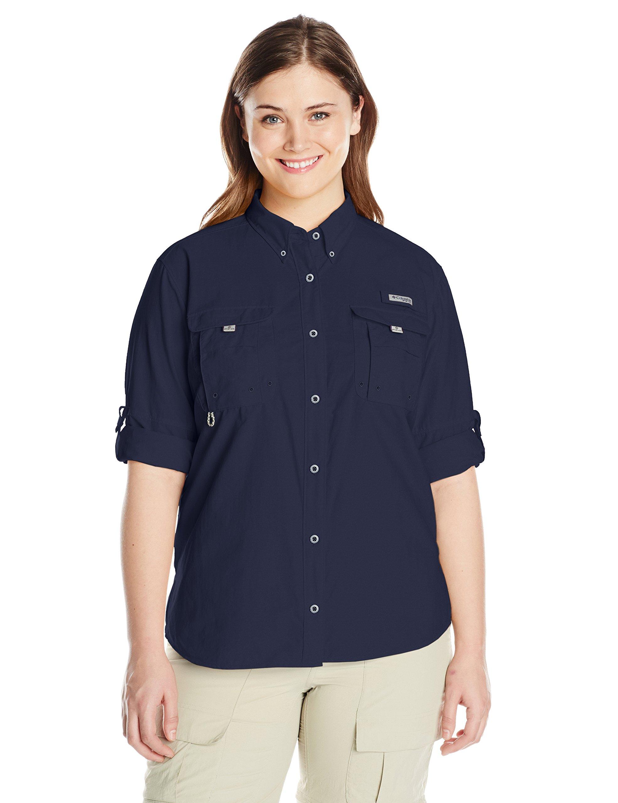 Columbia Sportswear Women's Plus Bahama Long Sleeve Shirt, Collegiate Navy, 1X