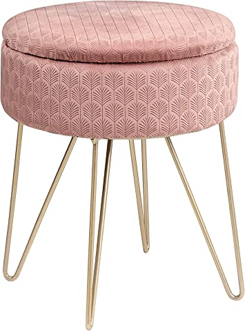 Velvet Storage Footstool Ottoman Footrest Makeup Dressing Table Stool Chair Pink