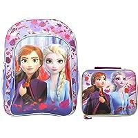"Disney / Frozen II 16"" Backpack & Lunch Case - 2 pc Set - Elsa Anna Print"